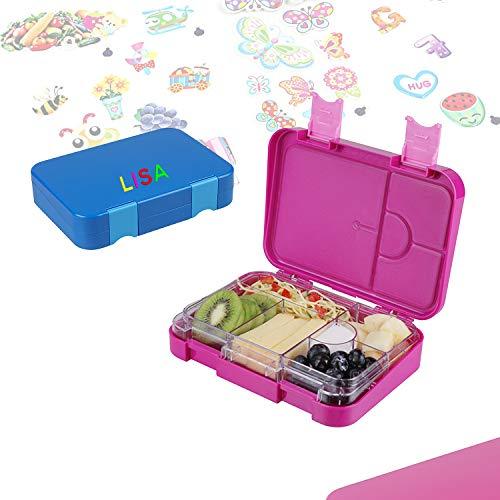 Bento Box Lunch Box Brotdose Vesperbox -mit Namen Personalisiert auslaufsicher mit variablen Fächern - herausnehmbare Innenschale - für Jungs und Mädchen - blau (Für Jungs (Blau))