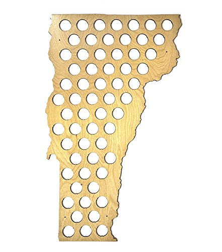 Todos los 50Estados cerveza Cap mapa–brillante madera–Skyline taller