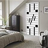 3D Print Art Wallpaper Mural Murals Door Sticker, A Blank Newspaper Style Crossword Puzzle with Numbers in, Home Decoration Self-Adhesive Removable Art Door Decals 23.6 x 78.7 Inch