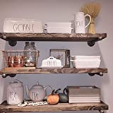 Industrial Floating Shelves Wall Shelf - Floating Shelves Wood Wall Mounted, Hanging Shelves, Floating Shelves Rustic, with Pipe Hardware Brackets (Set of 3) 1.5'' X 7.25'' (Espresso, 24'')