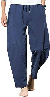 MakingDa Mens Plain Baggy Harem Pants with Pockets Drawstring Lightweight Wide Leg Yoga Trousers Lounge Bottoms Casual Hom...