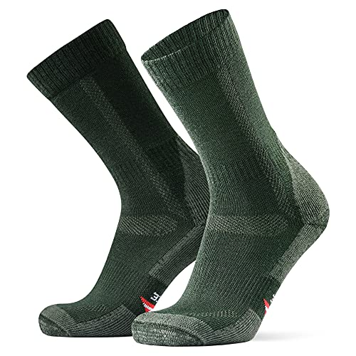 Merino Wool Hiking & Trekking Socks (Forest Green 1 Pair, US Women 11-13/US Men 9.5-12.5)