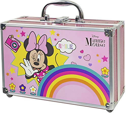 Minnie Mouse Makeup Train Case - Neceser Minnie, Set de Maquillaje para Niñas - Maquillaje Minnie - Selección de Productos Seguros en un Maletín de Maquillaje Especial