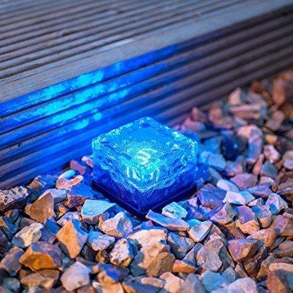 Wasserdicht Solar-Leuchten Path Ice Cube, Keeda bunt Farbwechsel LED Kristall Glas Brick Maschine Garten Licht für Indoor Outdoor Wege Innen-Weg und Garten