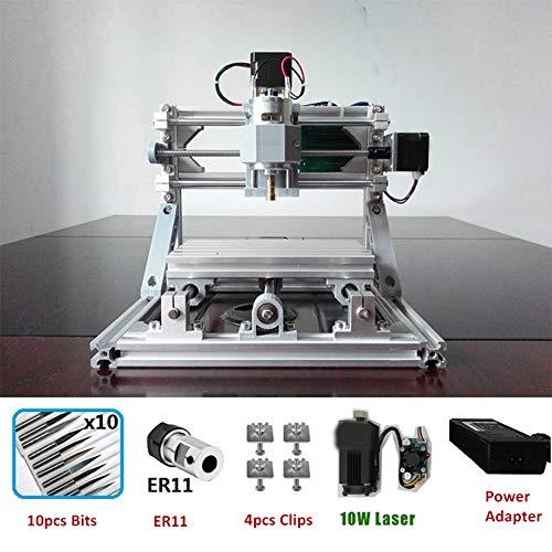 LWQ Graviermaschine, CNC1610 GRBL DIY Hobby-Maschine 110V-220V für Holz PCB PVC Mini CNC-Fräser-Tabelle,Add 10w Laser