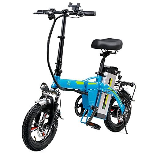 TGHY Bicicleta Eléctrica Plegable de 14' para Adultos Batería Extraíble de 48V 10Ah Motor Sin Escobillas de 400W Asistencia de Pedal Freno de Disco Bicicleta Eléctrica de Cercanías,Azul