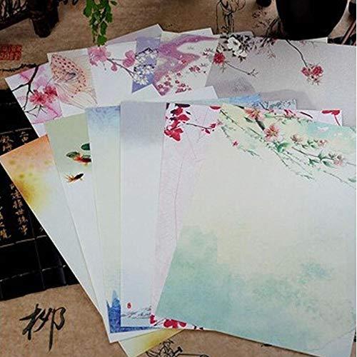 Lot de 72 feuilles de papier à lettre + 24 enveloppes - Papier à lettre vintage rétro avec motif chinois - Pour écrire sur un seul côté