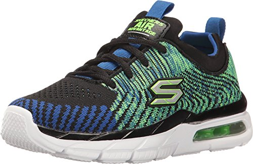Skechers Boys' Air Advantage Sonic Blast Sneaker,Black/Blue/Lime,US 3 M