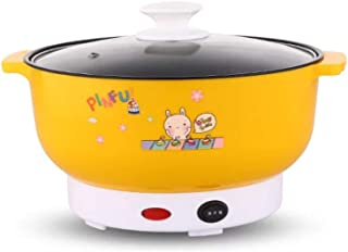 Cocina eléctrica Multifuncional Mini sartén calefactora Fideos de Acero Inoxidable Vapor de arroz Huevos al Vapor Olla de Sopa 2L (Color : Yellow01, tamaño : D22CM)