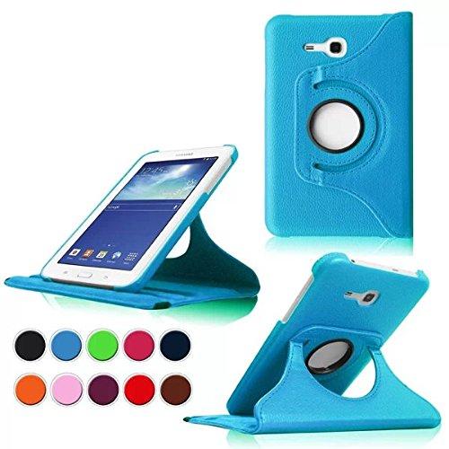 Samsung Tab 3 7.0 Lite Custodia Pelle,PU Caso Pelle Girevole 360°Rotante Smart Book Cover Custodia in Pelle per Samsung Galaxy Tab 3 Lite 7.0'' Tablet SM-T110 SM-T111 SM-T113 SM-T116 Cover(Azzurro)