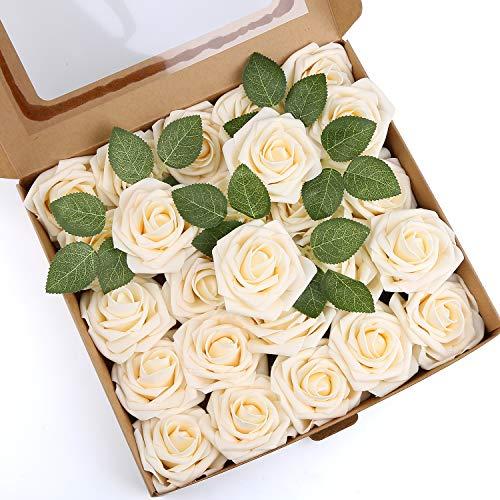 Mitening Künstliche Rosen Blumen [25 Stück], Schaumrosen Kunstblumen Blumensträuße Blumen Rose Deko Rosenköpfe Gefälschte Kunstrosen Braut DIY Hochzeit für Zuhause Haus Garten Party Dekoration