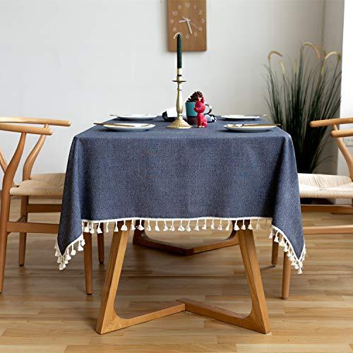 Rayzi Rechteck Einfarbig Tischdecke,Baumwolle und Leinen Couchtisch Tischtuch,mit Quaste Edge Tischwäsche Maschinenwaschbar für Home Küche Dekoration