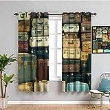 Vintage Decor Collection Room Darkened Curtain Colorful Vintage Maleta Cuero Antiguo Decorativo Viaje Regalo Mapa Nostalgia Fácil de limpiar Marrón Crema Verde W108 x L84 pulgadas