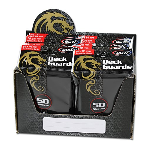 BCW 500 Count Deck Guard BLACK MATTE Finish for Stardard Size Collectable Cards - Deck Protector Sleeves [Display Bundle - 10 Packs]