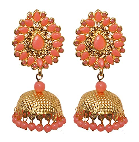 Pahal tradicional Jadau Rosa Kundan Pearl Big Gold Jhumka Pendientes indios Bollywood joyería nupcial para mujeres
