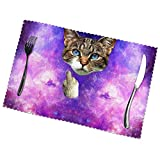 Kazogu - Set di 6 tovagliette antiscivolo per gatti con dita medie, facili da pulire