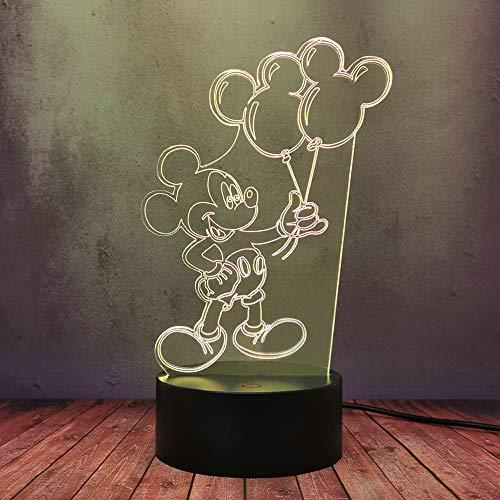 Lindo globo de dibujos animados Mickey Mouse 3D luz nocturna ilusión 16 colores LED lámpara de escritorio mesa niño anime bebé sueño decoración iluminación lava bombilla mejor regalo Navidad juguete