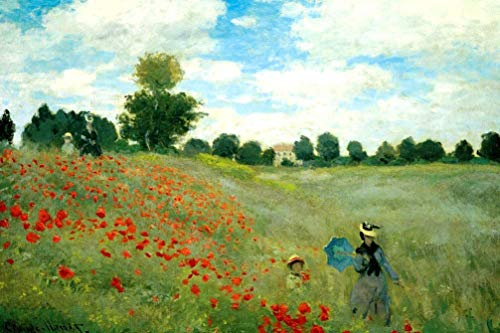 Puzzle per adulti 1000 pezzi pizzle classici, 750x500mm - Campo di papaveri - Claude Monet