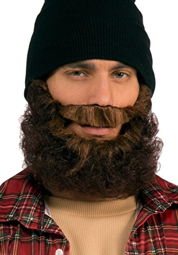 Forum Novelties Men's Beard-Brown Curly with Moustache Party Supplies, Standard 72518