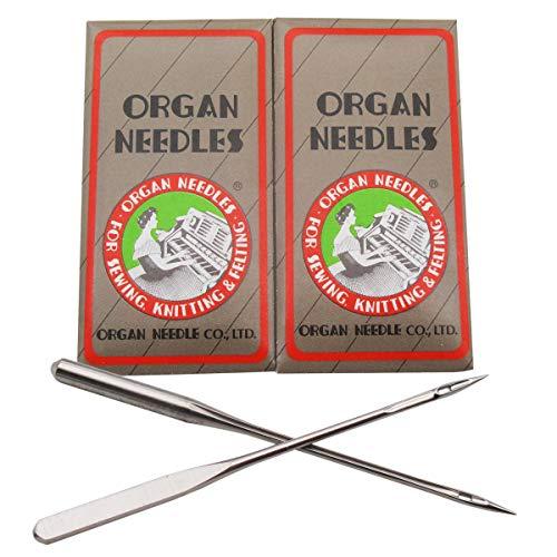 20 agujas para máquina de coser para el hogar con punta de órgano/aguja de mango plano en caja de plástico transparente CKPSMS, HAX1SP 15 x 1SP (tamaño de la aguja: 11/75)