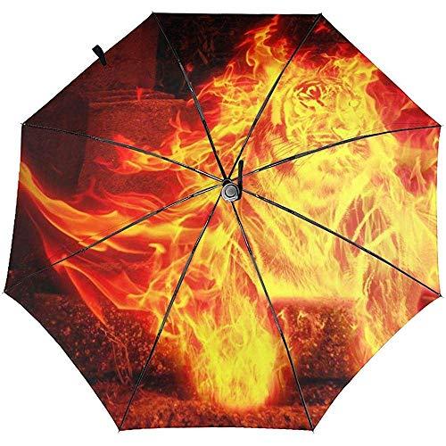 Automatischer dreifachgefalteter Regenschirm Flame Burning Mythos Tigerfigur Stein Automatischer dreifachgefalteter Regenschirm Sonnenschutz Winddicht