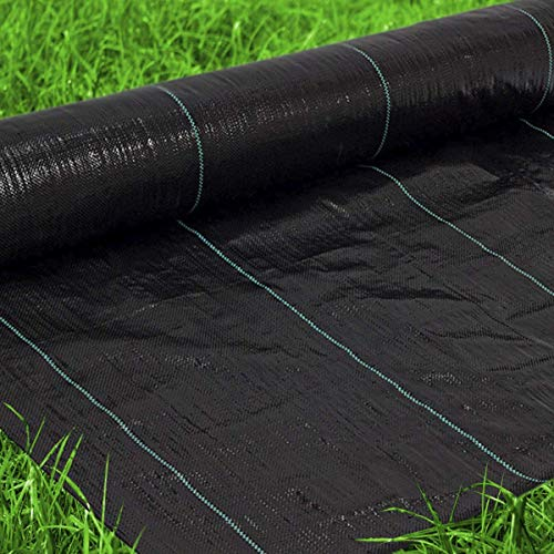 Premium Landscape Fabric Heavy Duty 4x300 Ft 3.2oz/108gsm Black - Woven Weed Barrier Landscape Fabric - Garden Fabric Roll - Weedblock for Garden, Flower Bed, Driveway, Drainage and Weed Prevention