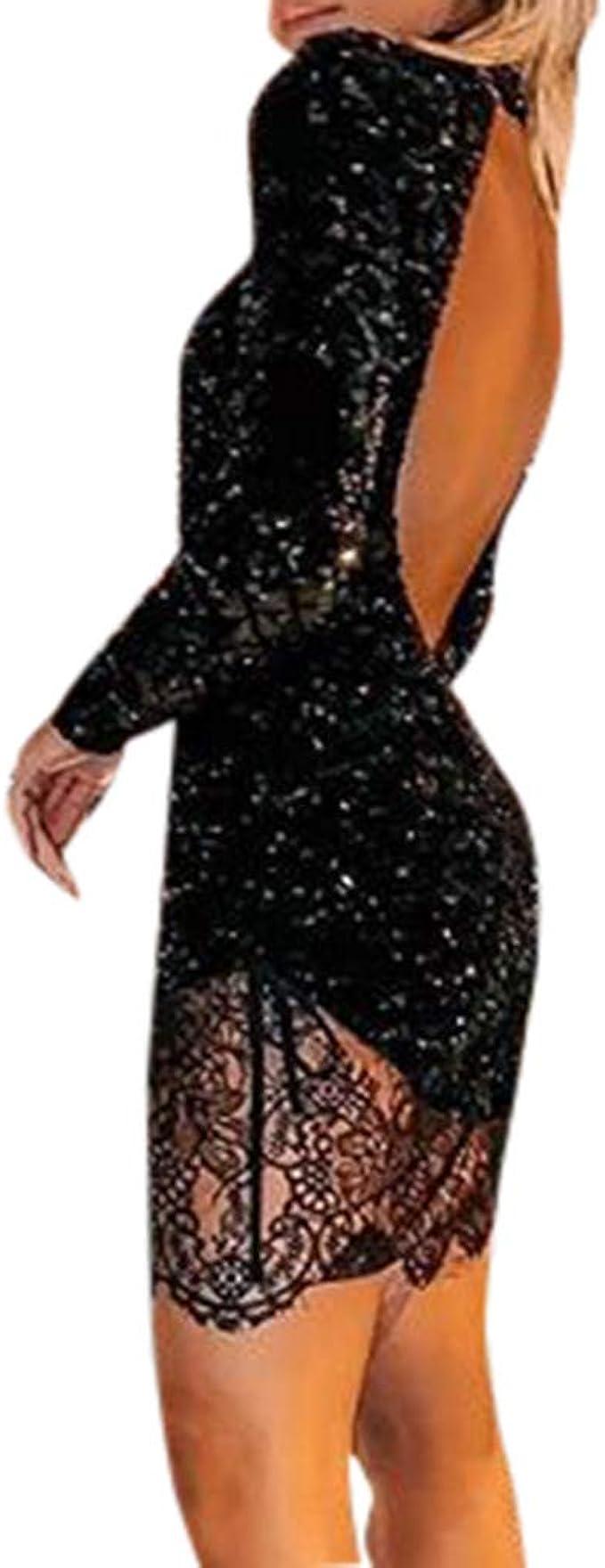 Battnot Damen Mini Kleider Sexy Langarm Ruckenfrei Pailletten Spitze Slim Fit Abendkleid Frauen Elegant Sequin Lace Festlich Hochzeit Cocktailkleid Party Club Kostum Womens Schwarz Dress S Xl Amazon De Bekleidung