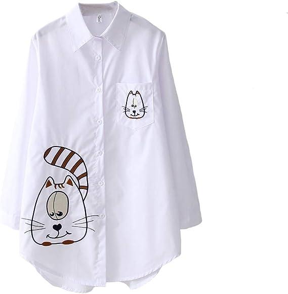 Camisas y Blusas para Mujer Camisa Blanca de Manga Larga Top Retro de Media Longitud para Mujer con Bordado de Dibujos Animados