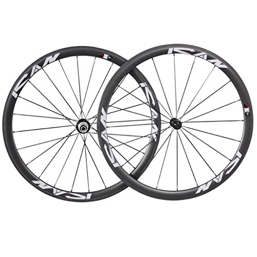 Ruedas de bicicleta de carretera de 38mm, 20/24agujeros, de carbono, Shimano 10/11velocidades, de ICAN