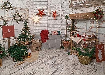 LYWYGG 7x5FT Fondo de Navidad Fondo de Tablero de Madera Blanca Retro Decoración del Hogar Fondo de Fotografía Familiar de Navidad Fondo de Fotografía de Niños de Navidad CP-293