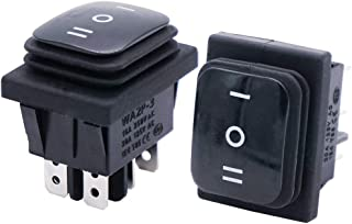 Twidec/2Pcs Waterproof 16A 250V 20A 125V AC 6 Pins 3 Position ON/Off/ON DPST Rocker Toggle Switch Boat Or Car Black KCD4-203N-BK