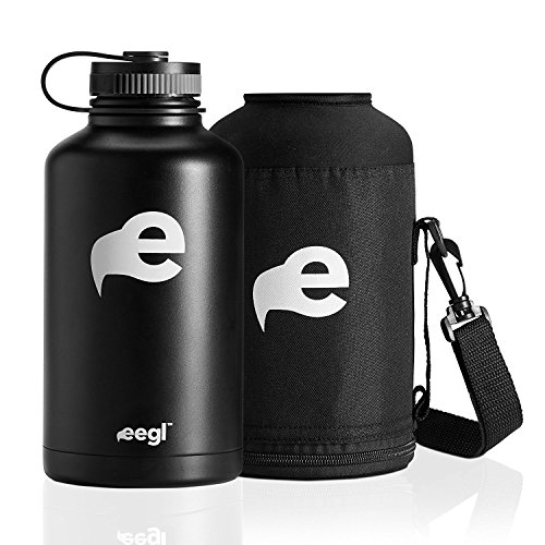 64 oz Stainless Steel Insulated Water Bottle -Growler - Includes Carry Case - Double Wall Design