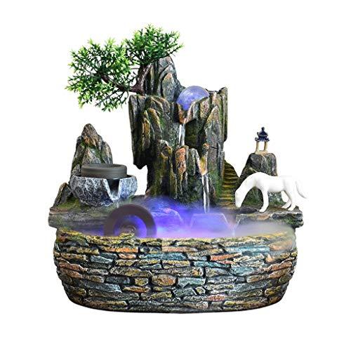 Rockery Indoor Water Fountain Recycling Waterwheel Wind Wheel Transfer Ball Fish Pond Desktop Fountain Ornaments 292230cm