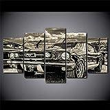 hgjfg Tableau Multi Panneaux 5 Parties Impression sur Toile Ford Mustang 1965 HD imprimée Peinture Murale Toile Peinture pour La Maison Salon Bureau Mordern Décoration