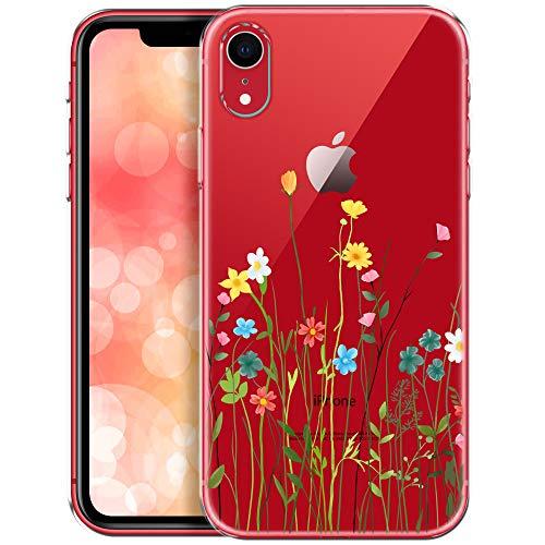 QULT Custodia Compatibile con iPhone XR Cover Trasparente Bumper Silicone Morbida Chiaro Cristallo Anti-Scratch Case per iPhone XR con Disegni Prato di Fiori