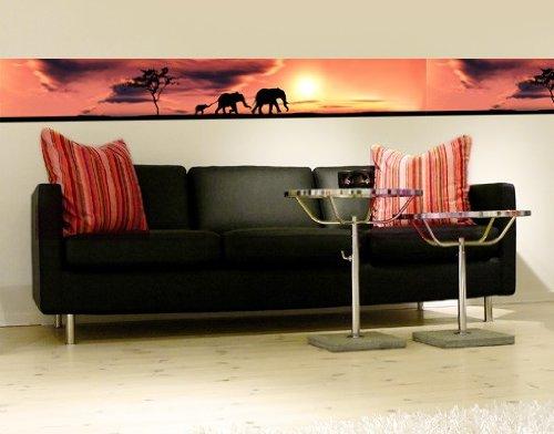WandBild Bordüre Savannah Elefant Family Afrika Sonnenuntergang Abend Tiere, Größe:20cm x 576cm