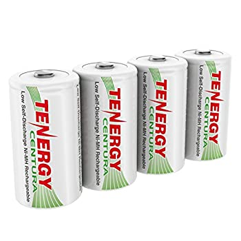 Tenergy Centura 1.2V NiMH Rechargeable D Battery 8000mAh Low Self Discharge D Cell Batteries Pre-Charged D Size Battery 4 Pack - UL Certified