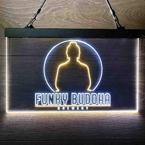 zusme Funky Buddha Brewery Colorful LED Neon Sign Man Cave Light White & Yellow W12 x H8