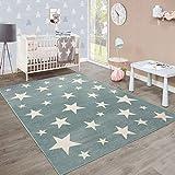 Moderna Alfombra Pelo Corto Estrellas Habitación Infantil Pastel Turquesa Blanco, tamaño:80x150 cm