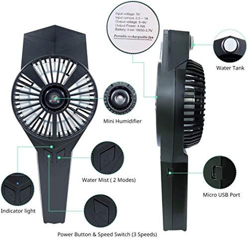 Ventilador USB, 2 en 1 ventilador de la mano portátil con humidificador pequeño, mini ventilador de la batería recargable integrada con, bolsillo del ventilador 3 velocidades for el hogar, oficina y e
