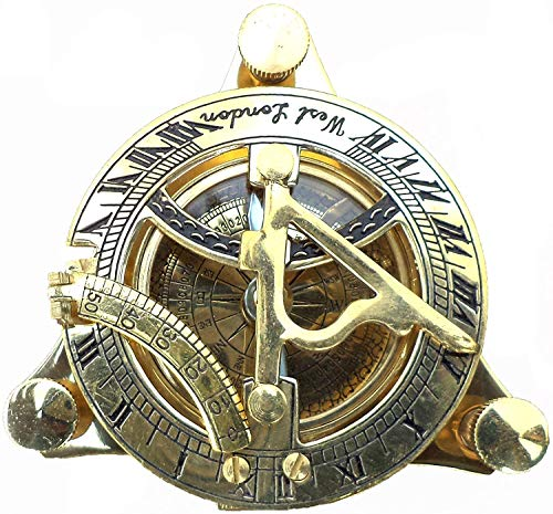 Maritimer Sammlerkompass Sonnenuhr Vintage Navigationskompass Messing glänzend