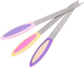 爪やすり 爪磨き 両面 ネイルファイル ステンレス ネイルファイラー マニキュア ペディキュアツール サンディング 研磨バフ 研磨ツール 3ピース/セット