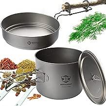 Bestargot Camping Titanium Pot & Pan Set, Outdoor Pot for Backpacking, Camp Cooking Pan, Multi-Functional Travel cookware Set, Light and Portable