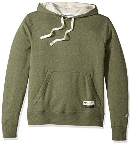 Champion Men's Authentic Original Sueded Fleece Pullover Hoodie, Green Luck Heather, X-Large