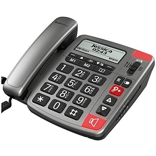 Amplicomms PowerTel 196 - Teléfono con botón grande para ancianos con pantalla - Teléfonos fuertes para problemas auditivos - Teléfono con números grandes - Teléfono de demencia para ancianos