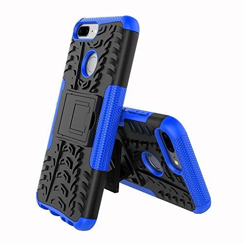 XINYUNEW Funda Huawei Honor 9 Lite, 360 Grados Protective+Pantalla de Vidrio Templado Caso Carcasa Case Cover Skin móviles telefonía Carcasas Fundas para Huawei Honor 9 Lite-Azul
