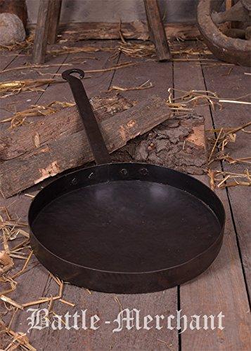 Rustikale Bratpfanne mit langem Griff aus Stahl Mittelalter LARP Wikinger