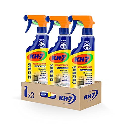 KH-7 Cocinas Desinfectante - Máxima Eficacia Sin Esfuerzo, Brillo y Rapidez en la Limpieza de la Cocina, Aroma a Mandarina e Iris Blanco - Pack de 3 Unidades x 750 ml