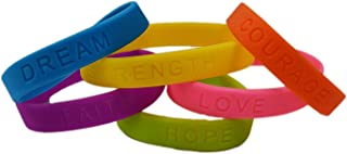 dazzling toys Rubber Bracelets Assorted Colors Inspirational Sayings Bracelets 2 Dozen | Bracelets Have Messages of Dream, Hope, Love, Faith, Courage, and Strength.