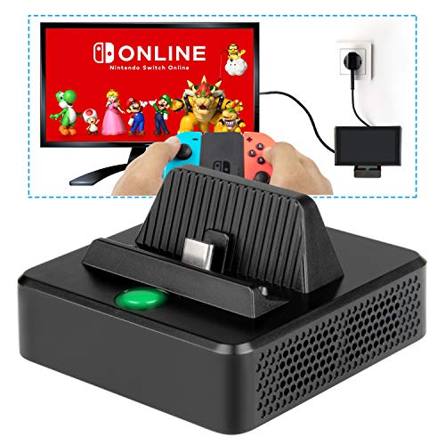 innoAura Dock di Ricarica per NS Switch Dock TV per Ricarica compattoportatile per Switch, Porta di ingressoalimentazione USB C, Porta USB 3.0 e HDMI Stand per NS Switch (Nero)